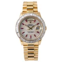 Rolex President Day Date 118208 P Serial Baguette Diamond Bezel Watch 18 Karat