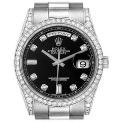 Rolex President Day-Date 18 Karat Gold Diamond Men's Watch 118339 Box Papers