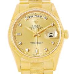 Rolex President Day-Date 18 Karat Yellow Gold Diamond Dial Men's Watch 18078