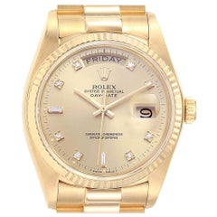 Rolex President Day Date 18 Karat Yellow Gold Diamond Men's Watch 18038