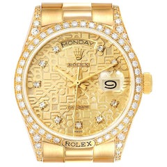 Rolex President Day-Date 18 Karat Yellow Gold Diamond Men's Watch 18138