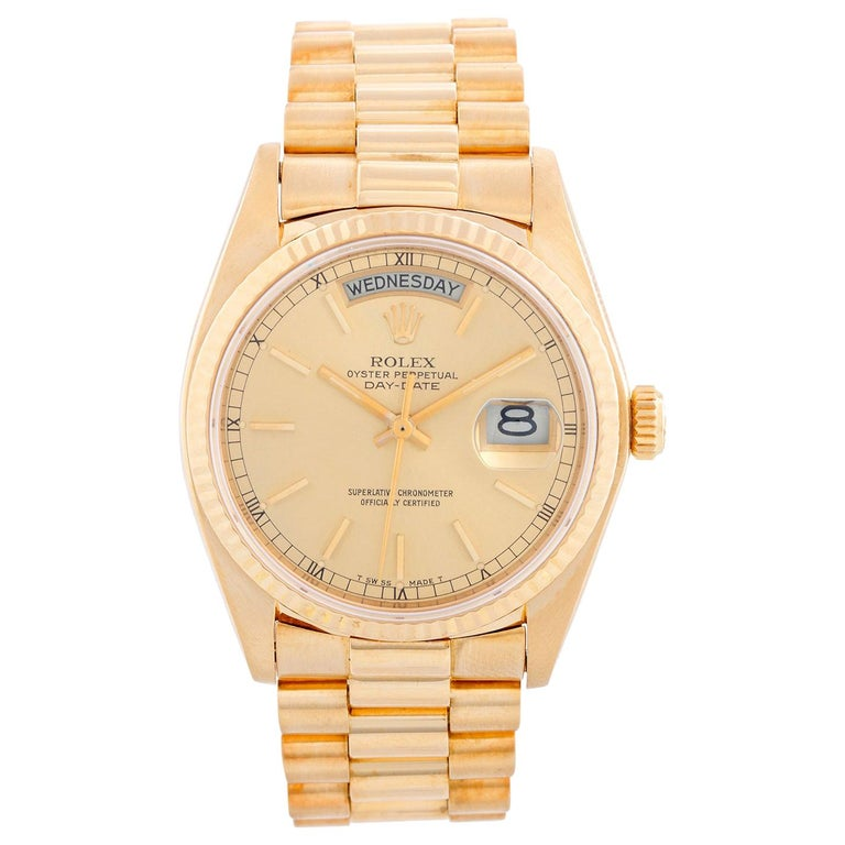 Rolex President Day-Date 18 Karat Yellow Gold Men's Watch 18038 For Sale