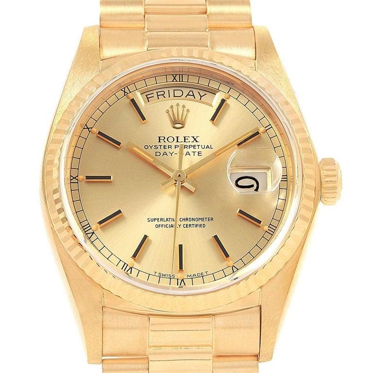 rolex president day date 18 karat yellow gold men 39 s watch. Black Bedroom Furniture Sets. Home Design Ideas