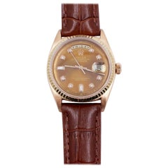 Rolex President Day Date 1803 Chocolate Diamond Dial 18 Karat Gold Leather Strap
