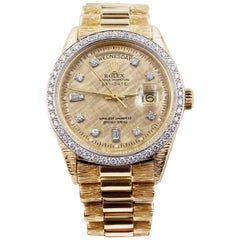 Rolex President Day Date 1803 Diamond Dial Bezel 18 Karat Yellow Gold Florentine