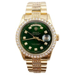 Rolex President Day Date 18038 Green Diamond Dial Bezel Band 18 Karat Gold