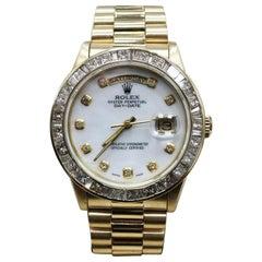 Rolex President Day Date 18038 MOP Diamond Dial and Bezel 18 Karat Yellow Gold