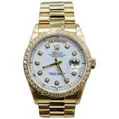 Rolex President Day Date 18238 White Diamond Dial and Bezel 18 Karat Gold Mint