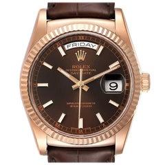 Rolex President Day-Date 18k Everose Gold Chocolate Men's Watch 118135