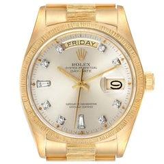 Rolex President Day-Date 18k Yellow Gold Bark Finish Mens Watch 18078