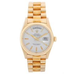 Rolex President Day-Date 18 Karat Yellow Gold Bark Finish Men's Watch 18078
