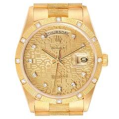 Rolex President Day-Date 18K Yellow Gold Diamond Mens Watch 18308