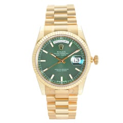 Rolex President Day-Date 18K Yellow Gold Green Dial Mens Watch 118238