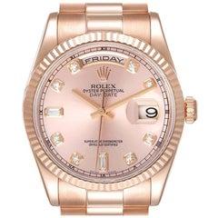 Rolex President Day Date 36 Everose Gold Diamond Mens Watch 118235