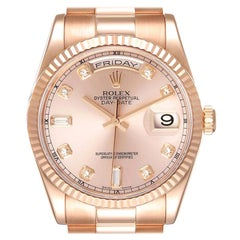 Rolex President Day Date 36 Everose Gold Diamond Watch 118235 Box Papers