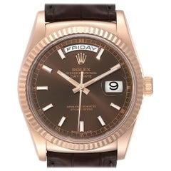 Rolex President Day Date 36 EveRose Gold Men's Watch 118135 Box Card