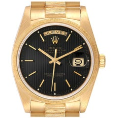 Rolex President Day-Date 36 Yellow Gold Bark Finish Men's Watch 18078