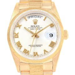 Rolex President Day-Date 36 Yellow Gold Bark Finish Men's Watch 18078