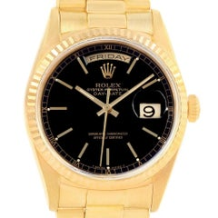 Rolex President Day-Date 36 Yellow Gold Black Dial Men's Watch 18238