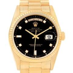 Rolex President Day-Date 36 Yellow Gold Black Diamond Dial Watch 18238