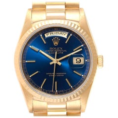 Rolex President Day-Date 36 Yellow Gold Blue Dial Men's Watch 18238