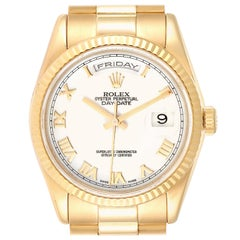 Rolex President Day Date 36 Yellow Gold White Dial Men's Watch 118238