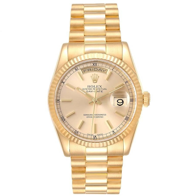 Rolex President Day Date 36mm Yellow Gold Mens Watch 118238. Officially certified chronometer self-winding movement. 18k yellow gold oyster case 36.0 mm in diameter. Rolex logo on a crown. 18K yellow gold fluted bezel. Scratch resistant sapphire