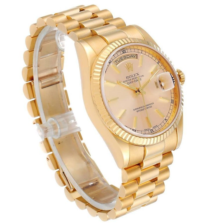 Rolex President Day Date Yellow Gold Men's Watch 118238 In Excellent Condition For Sale In Atlanta, GA
