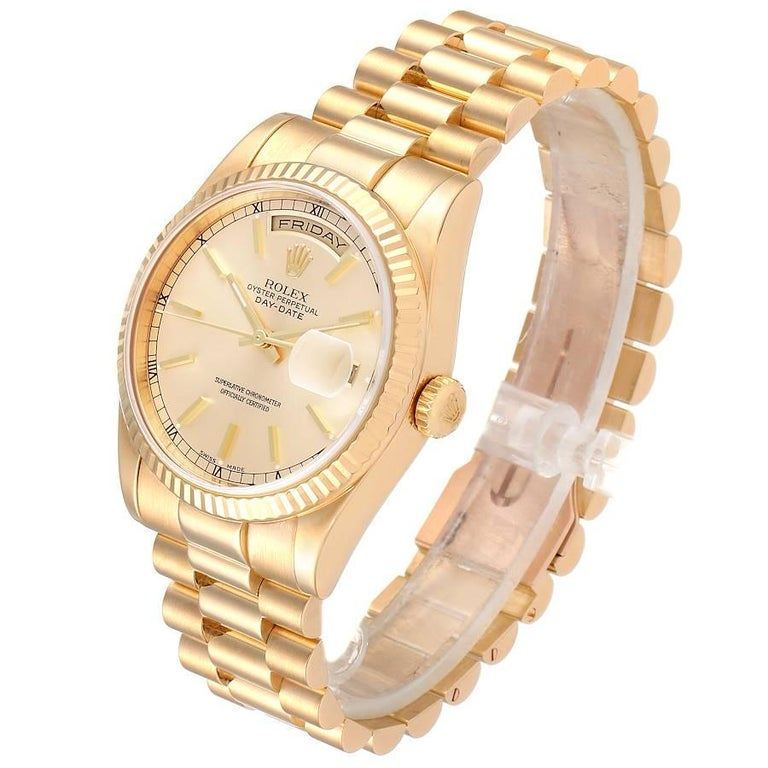 Rolex President Day Date Yellow Gold Men's Watch 118238 For Sale 1