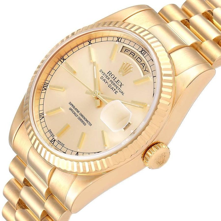 Rolex President Day Date Yellow Gold Men's Watch 118238 For Sale 2