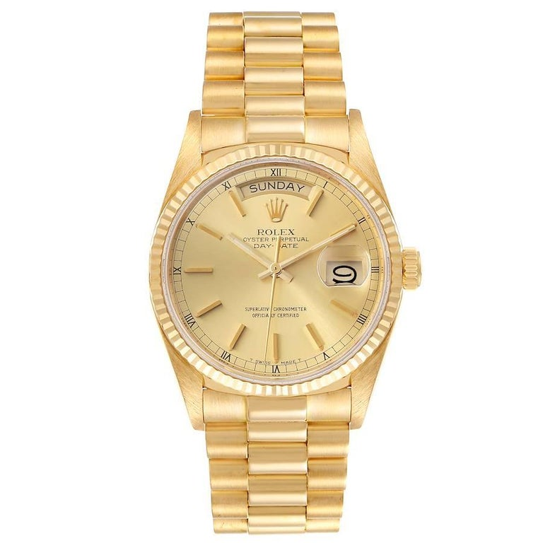 Rolex President Day-Date 36mm Yellow Gold Mens Watch 18038 Box. Officially certified chronometer self-winding movement. 18k yellow gold oyster case 36.0 mm in diameter. Rolex logo on a crown. 18k yellow gold fluted bezel. Scratch resistant sapphire