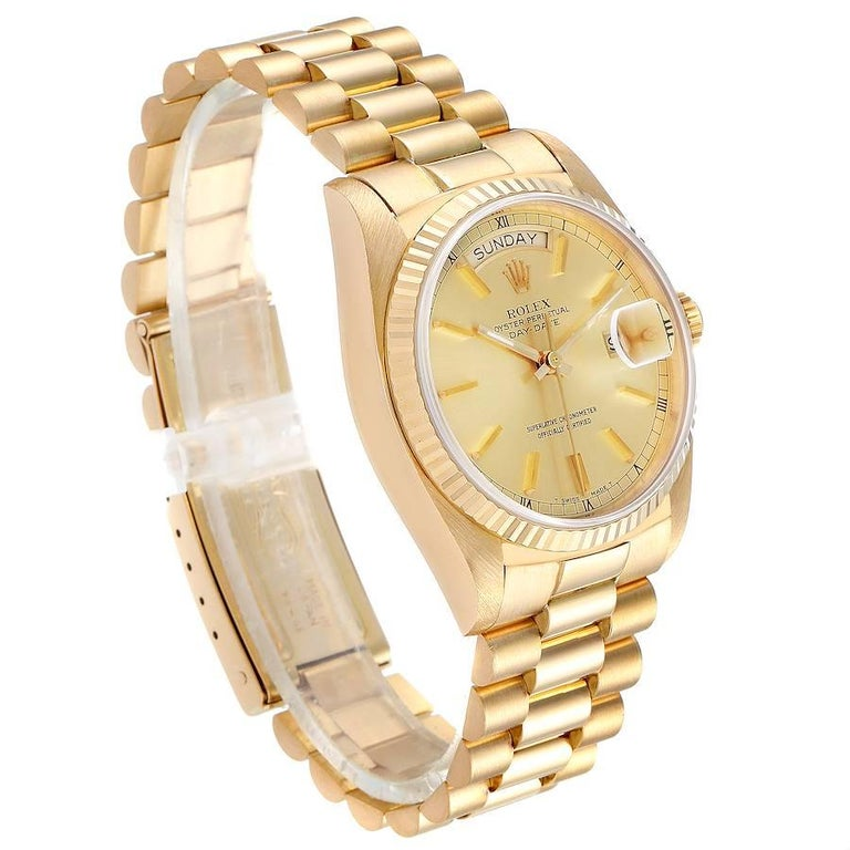 Rolex President Day-Date Yellow Gold Men's Watch 18038 Box In Excellent Condition In Atlanta, GA
