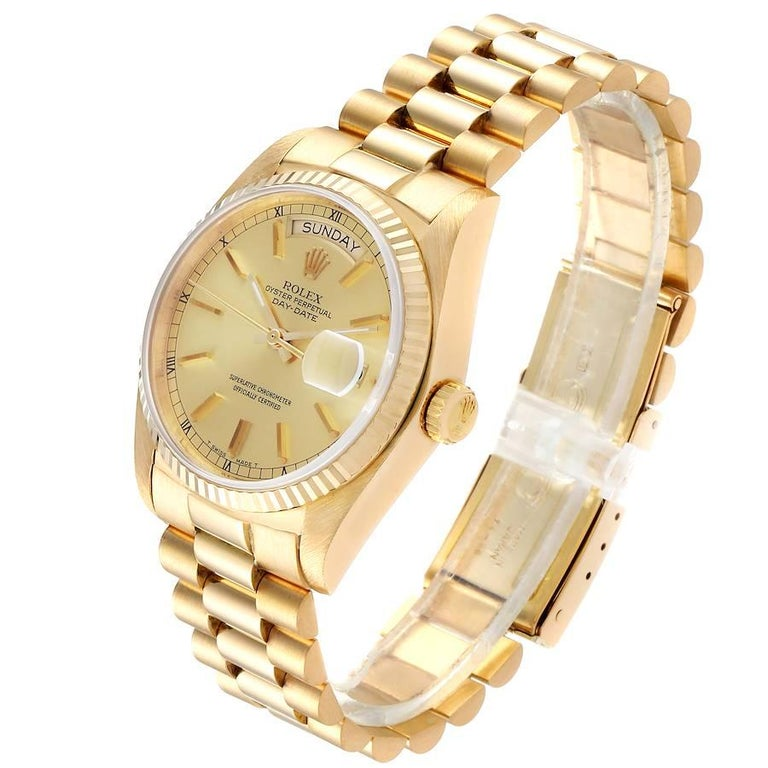Men's Rolex President Day-Date Yellow Gold Men's Watch 18038 Box