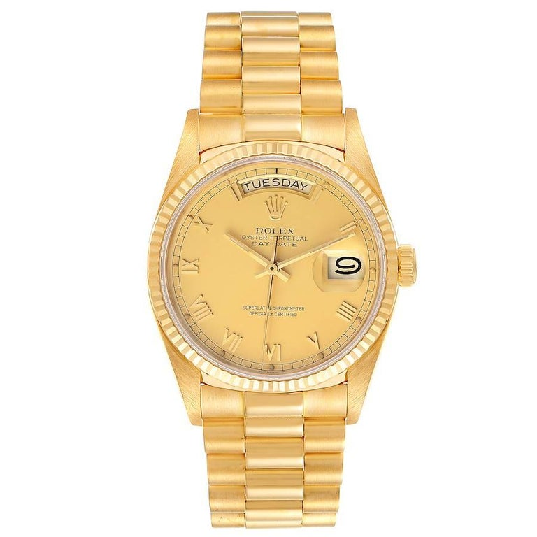 Rolex President Day-Date 36mm Yellow Gold Mens Watch 18038. Officially certified chronometer self-winding movement. 18k yellow gold oyster case 36.0 mm in diameter. Rolex logo on a crown. 18k yellow gold fluted bezel. Scratch resistant sapphire
