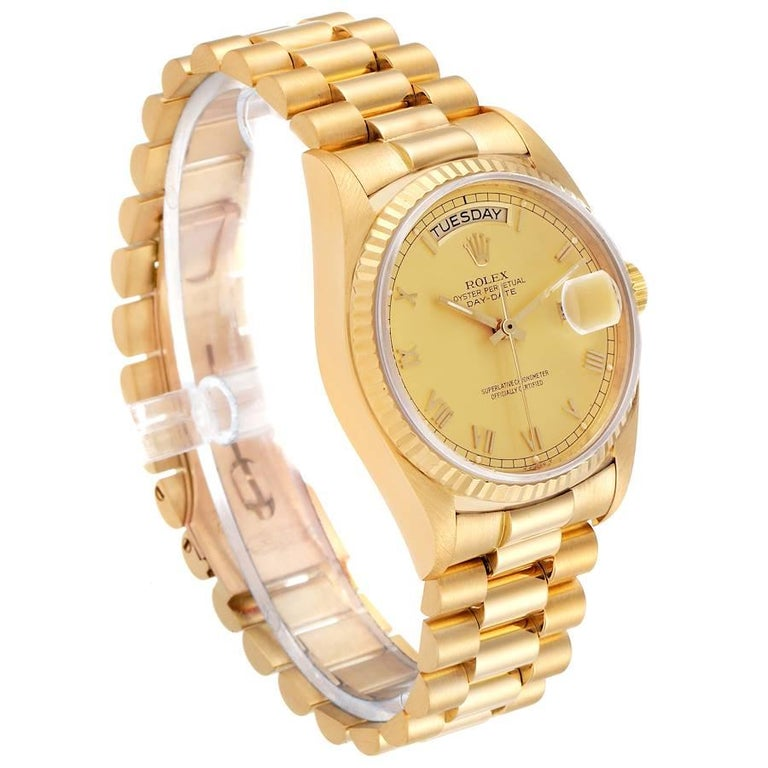 Rolex President Day-Date Yellow Gold Men's Watch 18038 In Excellent Condition For Sale In Atlanta, GA