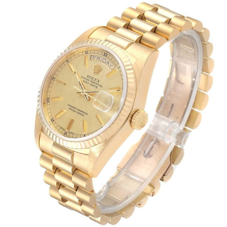 Men's Rolex President Day-Date Yellow Gold Men's Watch 18038 For Sale