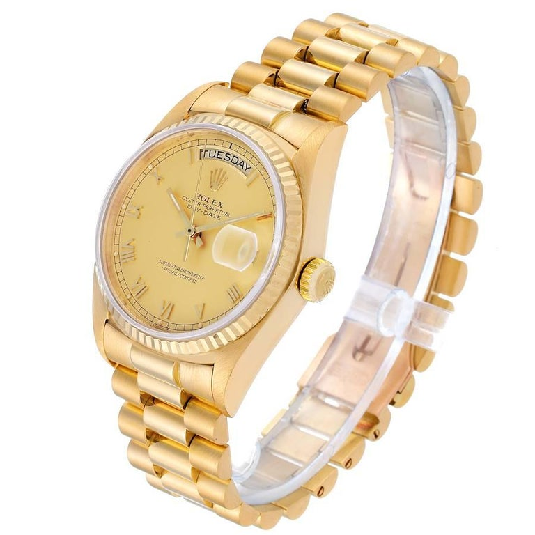 Rolex President Day-Date Yellow Gold Men's Watch 18038 For Sale 1