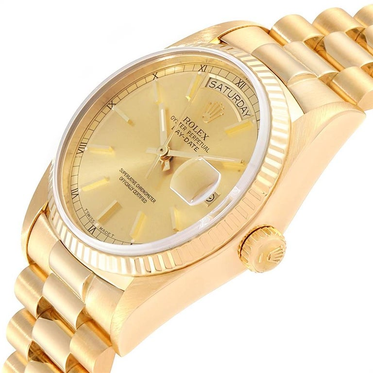 Rolex President Day-Date Yellow Gold Men's Watch 18038 For Sale 2