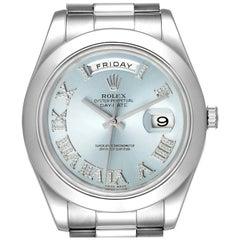 Rolex President Day-Date 41 Blue Diamond Dial Platinum Watch 218206 Box Card
