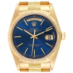 Rolex President Day-Date Blue Dial 18 Karat Yellow Gold Men's Watch 18078