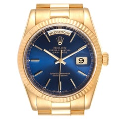 Rolex President Day-Date Blue Dial Yellow Gold Men's Watch 118238