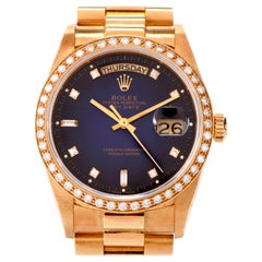 Rolex President Day Date Diamond Rare Dial Bezel Gents Watch Ref 18048