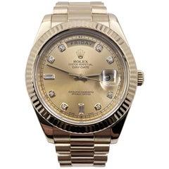Rolex President Day Date II Diamond Dial 18 Karat Yellow Gold Box Papers, 2011