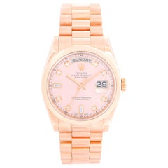Rolex President Day-Date Men's 18 Karat Rose Gold Diamond Watch 118205