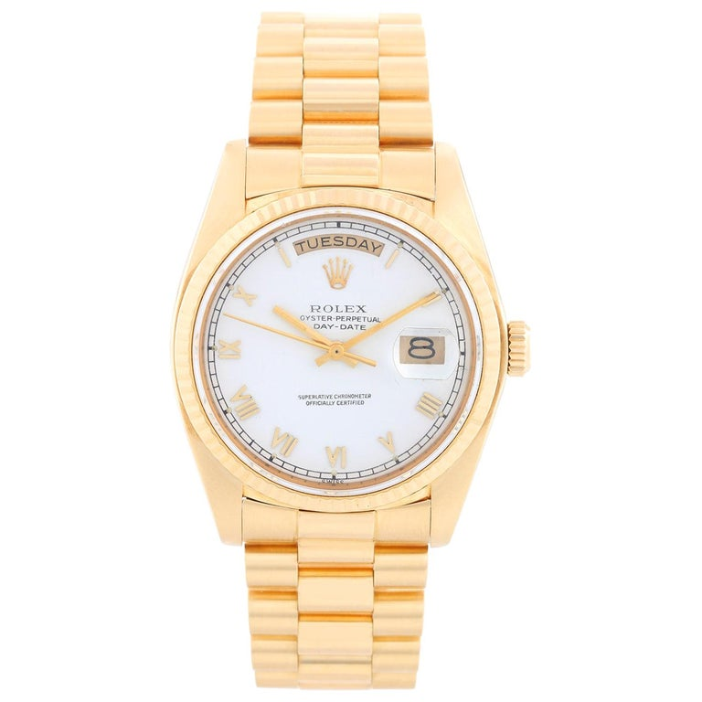 Rolex President Day-Date Men's' 18 Karat Yellow Gold Watch 18038 For Sale