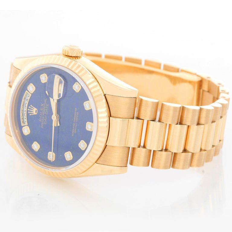Rolex President Day-Date Men's Watch 118238 - Automatic winding, 31 jewels, Quickset, sapphire crystal. 18k yellow gold case with fluted bezel . Very rare and unusual Factory Lapis diamond dial. 18k yellow gold hidden-clasp President bracelet.