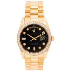 Rolex President Day-Date Men's Yellow Gold Watch Factory Diamonds 118348