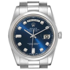 Rolex President Day-Date Platinum Blue Diamond Dial Mens Watch 118206