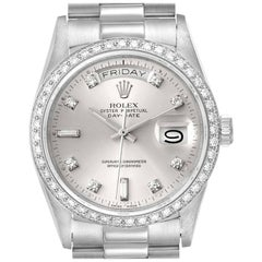 Rolex President Day-Date Silver Dial Platinum Diamond Men's Watch 18046