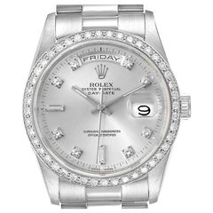 Rolex President Day-Date Silver Dial Platinum Diamond Men's Watch 18346 Box